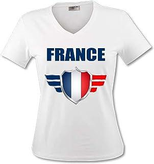 836a6937002e2 yonacrea - T-Shirt Col V Adulte - France - Coupe du Monde DE Football