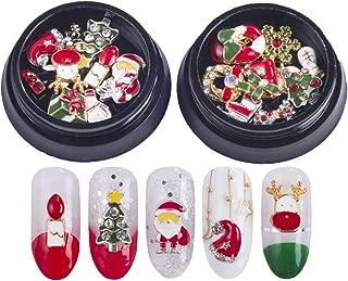 Christmas Nails Decorations 3D Metallic Nail Art Glitter Rhinestones Christmas Santa Reindeer Snowman Nail Supplies Jewelry,20 Pcs