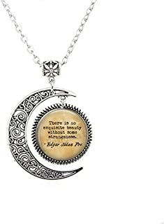 Edgar Allan Poe Quote - There is no exquisite beauty without some strangeness. - Literary Jewelry - Quote about Beauty - Book Jewelry moon Necklace