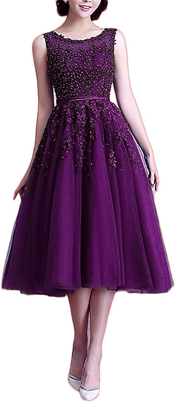 Ellystar Women's Tea Length Beading Short Jewel Sleeveless Tulle Evening Dresses