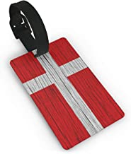 Luggage Tags - Wooden Texture Danish Flag Travel Baggage ID Suitcase Labels Accessories 2.2 X 3.7 Inch