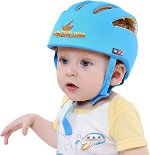 ESUPPORT Baby Adjustable Safety Helmet Headguard Protective Harnesses Hat Providing Safer Environment When Learning to Crawl Walk Play Blue