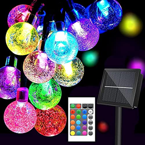Solar String Lights Outdoor, 16Colors 66LED 39Ft Waterproof Fairy Lights with 20Modes Remote, Solar Powered Crystal Globe Lights for Garden Fence Paito Yard Home Party Christmas Decoration