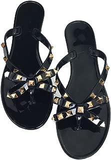 Mtzyoa Women Stud Bow Flip-Flops Sandals Beach Flat Rivets Rain Jelly Shoes Black
