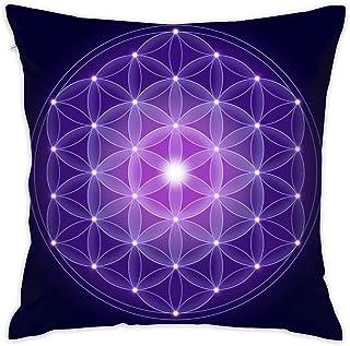EU Flor de la Vida con Las Estrellas Símbolo Espiritual Sagrado Fundas de cojín Fundas de Cojines Cuadrados Decorativos para el hogar 18 X 18 Pulgadas 45 X 45 cm