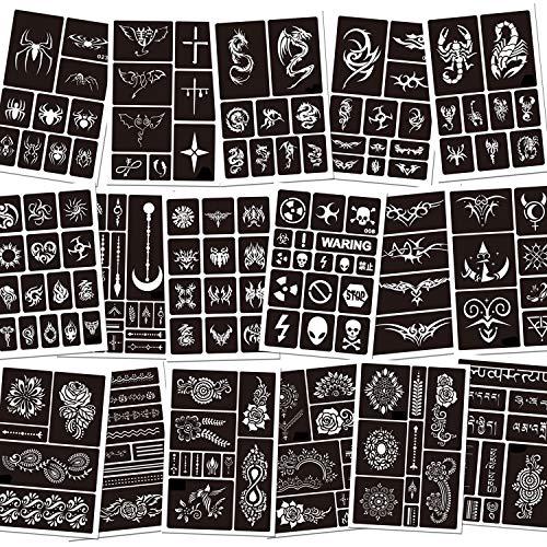 Konsait Temporäre Tattoo Schablonen, 188 Stück Glitter Tattoo Schablonen Schminkschablonen henna tattoo schablonen für Kinder und Erwachsene Halloween Party
