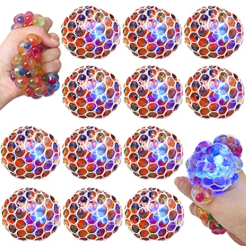 K.E.J. Squish Stress Ball 12 Pack LED Mesh Anti-Stress Ball Toys Squeeze Ball Fun for Boys Girls and...