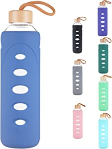 DEARRAY Sport Borosilicate Glass Water Bottle with Protective Silicone Sleeve and Unique Bamboo Lid 25oz Royal Blue