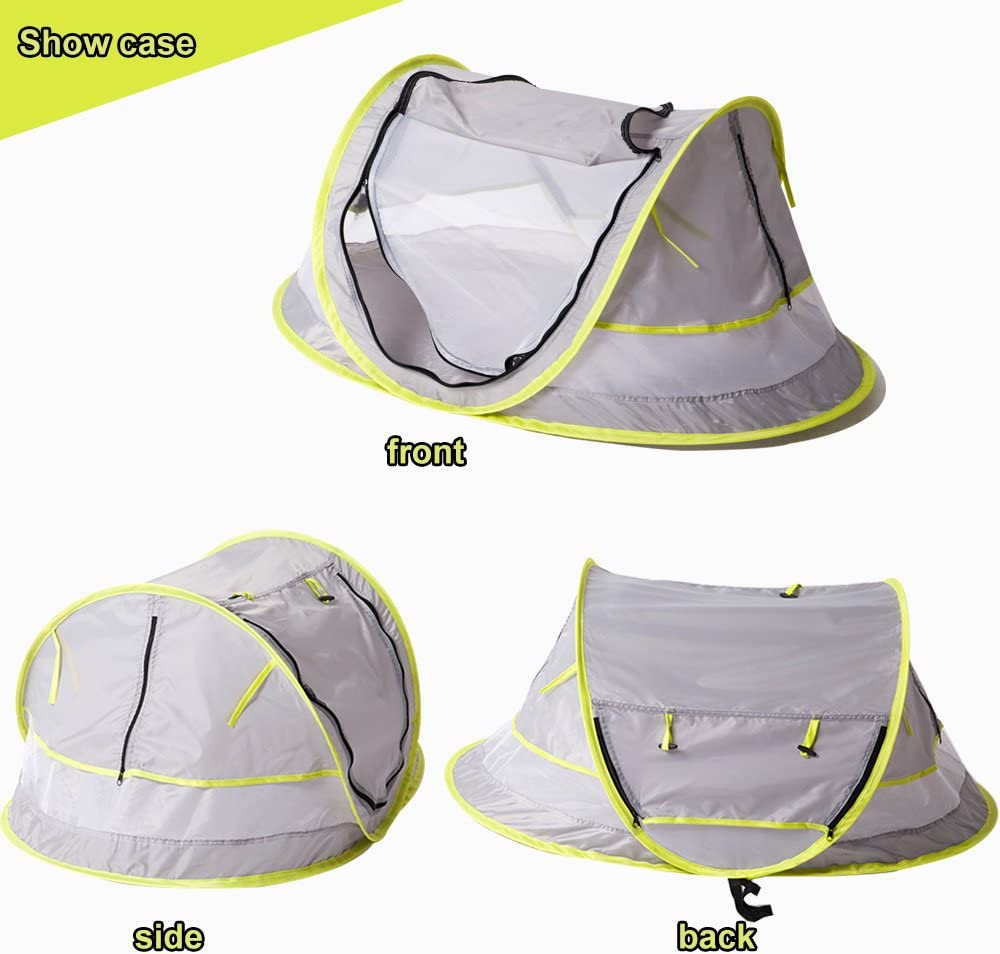 Portable Pop Up Baby Beach Tent UPF 50+ Sun Shelter, Infant Mosquito Net and Sunshade for Baby Crib, Travel Bed with 2 Pegs, Lightweight