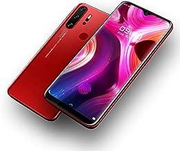 Factory Unlocked GSM 4G Android Smartphone 6.3in Water Drop Screen Full Screen w/Fingerprint Mobile Phone (Crimson)