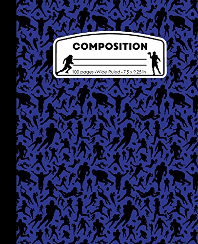 Composition: Football Blue Marble Composition Notebook. Sports Fan Book Wide Ruled 7.5 x 9.25 in, 100 pages journal for girls boys, kids, elementary school students and teachers
