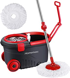 Homemaxs Spin Press Mop Bucket, Spin Self-Wringing Mop and Bucket with Wheels -