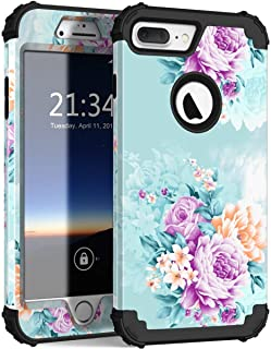 iPhone 8 Plus Case, iPhone 7 Plus case PIXIU Three Layer Heavy Duty Hybrid Sturdy Armor Shockproof Protective Phone Cover Cases for Apple iPhone 8 Plus/7 Plus(Peonies)