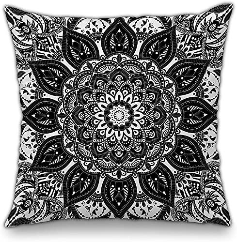 SHAA Funda de cojín decorativa con diseño de mandala en blanco y negro, diseño de elefante hippie bohemio, psicodélico, intrincado, floral, indio, decoración de sofá cama, 45,72 cm, mandala 002