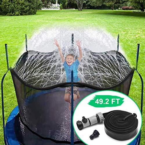 CT Trampolin Sprinkler Trampolin Spray Wasserpark Spaß Sommer Outdoor Wasserspiel Trampolin Zubehör, zum Anbringen am Trampolin Sicherheitsnetz Gehäuse (15m)