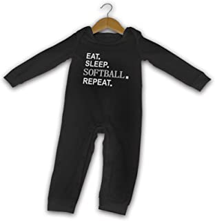 Eat Sleep Softball Repeat Sommer Langarm Mädchen Jungen Baby Strampler Baumwolle Neugeborene Säugling Body Baby Pyjama Overall