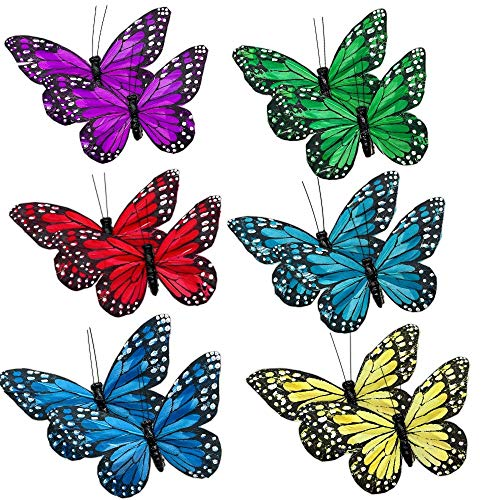 BANBERRY DESIGNS Butterfly Clip On Decorations - Set of 12 Vibrant Multi Colored Craft Butterflies Clips- Party Home Decor Spring Ornaments Wreaths Plants Centerpieces Home Dcor
