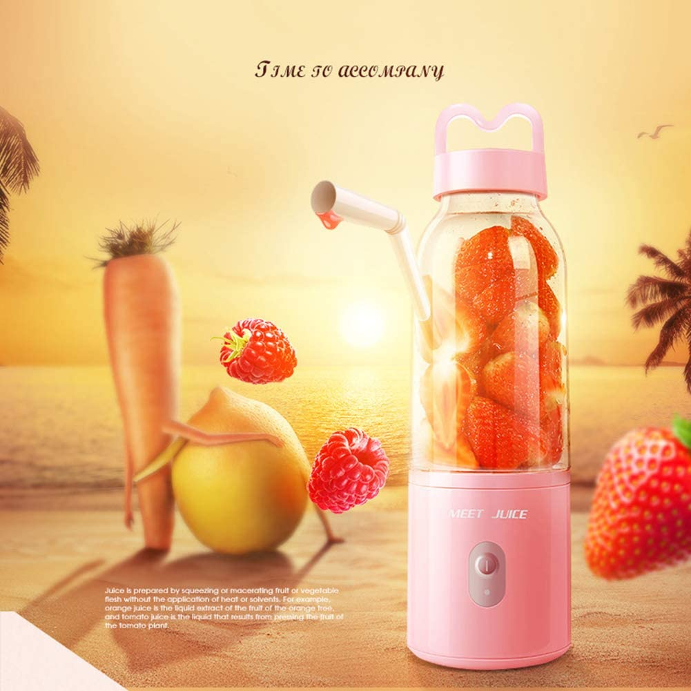 Mixeur Multifunction,Mélangeur LMM Pour Jus De Fruits Et Smoothie,Tasse De Presse-agrumes Rechargeable USB Avec Quatre Lames,Mélangeur 150w Et Robot Culinaire Pink