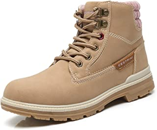 Combat Work Hiking Boots for Women Suede Lace Up Winter Boots, with Comfortable Insole and Slip Resistant Rubber Sole