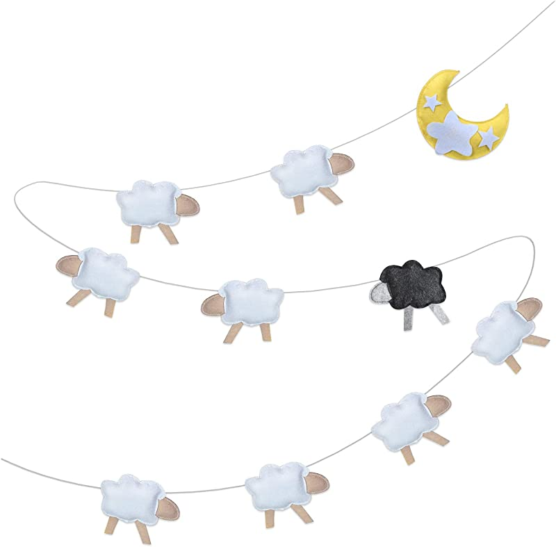 Baby Shower Nursery Wall Decor Felt Garland Art For Newborn Boy Or Girl Stimulate And Soothe With Star Moon And Sheep