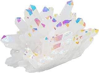 Top Plaza Healing Crystals Titanium Coated Rock Crystal Quartz Cluster Mineral Geode Druzy Specimen 1.85-2.5'' (White AB Color)