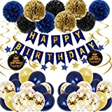 Birthday Decorations for Men Adults Royal Blue And Gold Party Decorations with Happy Birthday Banner Confetti Balloons Latex Ballons Hanging Swirls Tissue Paper Flowers Birthday Decor Set for Man Boys
