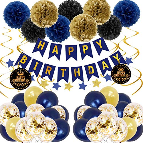 Birthday Decorations for Men Adults Royal Blue And Gold Party Decorations with Happy Birthday Banner...