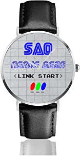 Unisex Business Casual Link Start Nerve Gear Sword Art Online Watches Quartz Leather Watch with Black Leather Band for Men Women Young Collection Gift