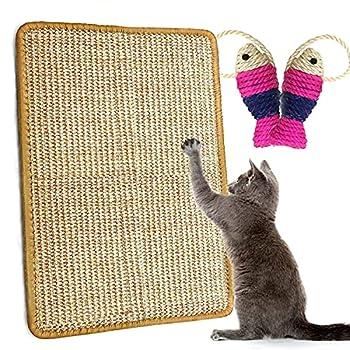 Tapis Griffoir pour Chat, Tapis à Gratter en Sisal Naturel Grattoir Tapis Chaton Anti-dérapant Pratique Jouet de Tapis Griffoir Po Chat De Protège Meubles(60 * 40cm)