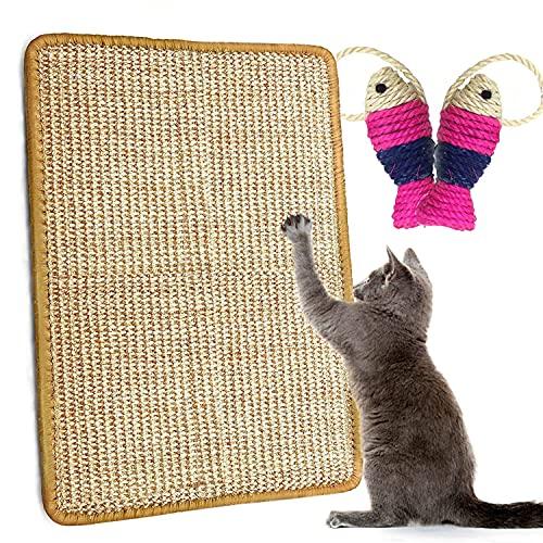 Alfombrilla Rascadora,Alfombra para Rascador Gato sisal Natural Resistente Antideslizante Cuidado De Las Patas del Gato Adecuado para Gatos Pequeños, Medianos y Grandes(40x60 cm)