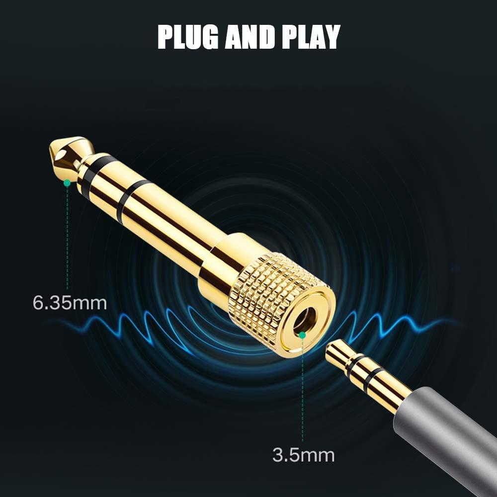 Adaptador Audio Jack 6.35 a 3.5 Amplificador,Mezclador de Audio Adaptador Jack a Mini Jack 6.35mm a 3.5mm Macho a Hembra para Auriculares,Altavoces