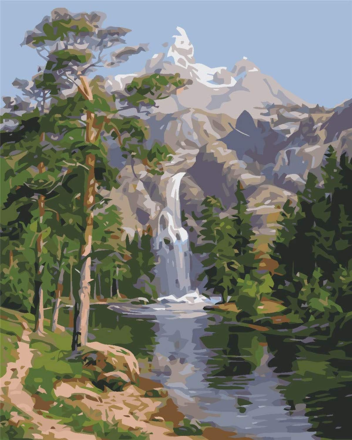 Diy Oil Painting Paint By Number Kit For Adults, color By Number, color By Number,Waterfall,16''X20''
