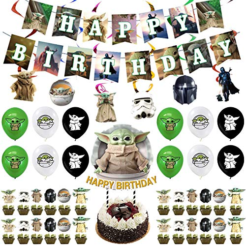 Baby Yoda Suministros Fiesta Cumpleaños Star Wars Theme Fiesta Cumpleaños Decoraciones Juego de globos de Yoda de Star Wars bebé para Fiesta de Cumpleaños Infantil