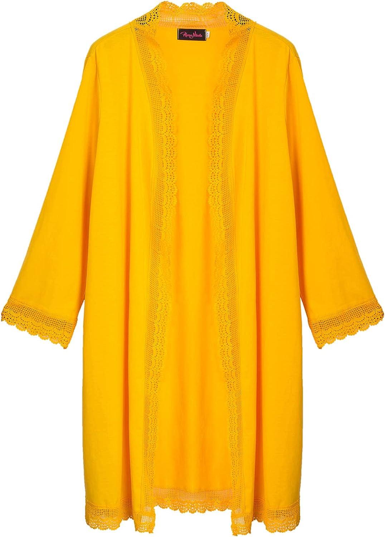 Women's Plus Size Cardigan Long Sleeve Drape Cardigans Lace Trim Long Duster