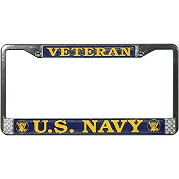 Chrome Metal Honor Country US Navy Retired License Plate Frame
