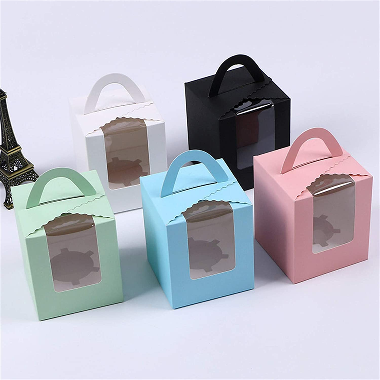 Portable Single Blue Paper Cupcake Holder Containers Carrier Blue 15Pack for Wedding Birthday Party Candy Boxes Blue Muffin Gift Boxes with Window Inserts Handle 15 Pcs Individual Cupcakes Boxes