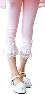 Fairy Wings Little Girls Solid Color Cotton Legging with Lace Trim Bead Flowers