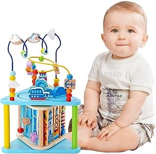 Baobë Juego de Juguetes de Laberinto de Madera, Juguetes de Cubo para niño, Laberinto Educativo para niños pequeños, Centro de Actividades 5-in-1 (Mundo Marino con Caja de música)