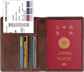 Fintie パスポートケース ホルダー トラベルウォレット スキミング防止 安全な海外旅行用 高級PUレザーパスポートカバー 多機能収納ポケット 名刺 クレジットカード 航空券 エアチケット (ダークブラウン)