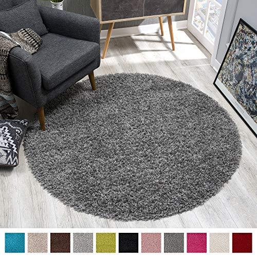 SANAT Teppich Rund - Grau Hochflor, Langflor Modern Teppiche fürs Wohnzimmer, Schlafzimmer, Esszimmer oder Kinderzimmer, Größe: 120x120 cm