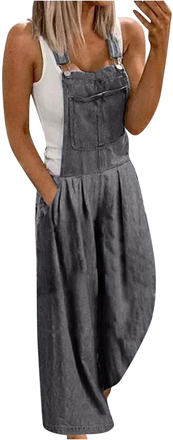 LEIYAN Womens Casual Stretch Jumpsuit Jeans Lightweight Baggy Wide Leg Comfy Denim Bib Overalls Rompers