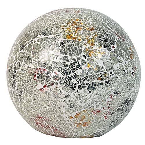 Beleuchtete Mosaikkugel silber aus farbigem Glas gefertigt Durchmesser 20 cm