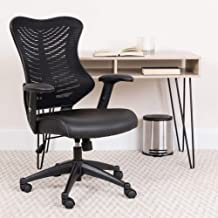 Flash Furniture High Back Designer Black Mesh Executive Swivel Ergonomic Office Chair with LeatherSoft Seat and Adjustable Arms, BIFMA Certified