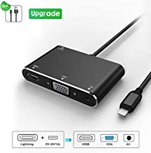 Digital HDMI VGA AV Adapter Converter, Upgraded Version 4 in 1 Plug and Play Digital HDMI AV Adapter Compatible for iPhone X/8/8Plus/7/7Plus/6/6s/6sPlus/5s/iPad/iPod to Projector HDTV(Black)