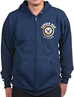 Navy Korean War Veteran - Zip Hoodie, Classic Hooded Sweatshirt with Metal Zipper