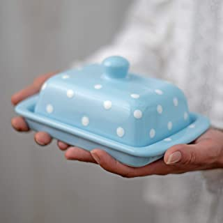 City to Cottage Handmade Ceramic European Covered Butter Dish with Lid | Unique Light Sky Blue and White Polka Dot Pottery Butter Keeper | Housewarming Gift