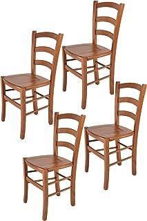 comprar comparacion Tommychairs - Set 4 sillas Venice para Cocina y Comedor, Estructura en Madera de Haya Color Cerezo y Asiento en Madera