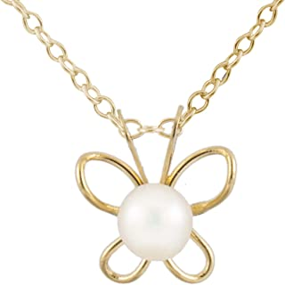 Splendid Pearls 3.5-4mm Freshwater Pearl CZ Accent 14k Yellow Gold Heart Pendant 14K Yellow Gold 15 Chain