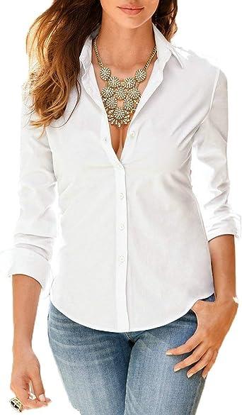 Camisas De Verano Botones De Mujer Camisas De Color Lisas Y ...