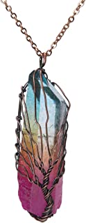 Bivei Tree of Life 7 Chakra Gemstone Copper Wire Wrap Clear Quartz Point Crystal Pendant Necklace